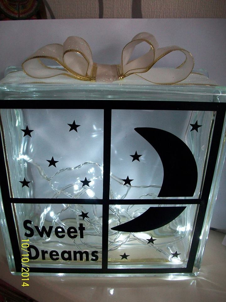 Moon Thru Window (Can be personalised) Baby - Glass Block Tile Design 6x6 inches