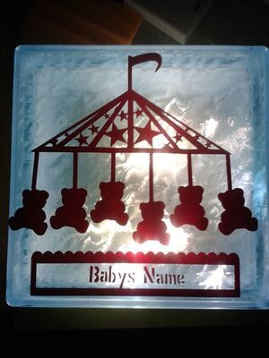 Teddy Carousel (can be personalised) Glass Block Tile Design 6x6 inches