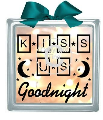 KISS US GOODNIGHT Glass Block Tile Design 6x6 inches