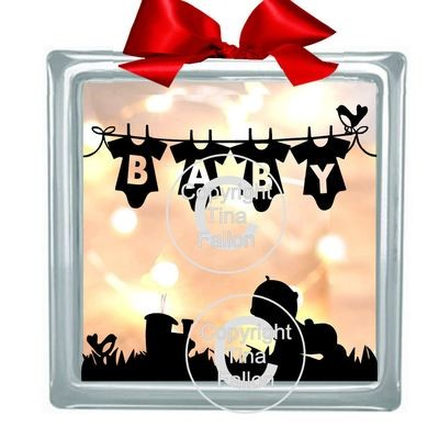 Washing Line Baby Boy Glass Block Tile Design 6x6 inches