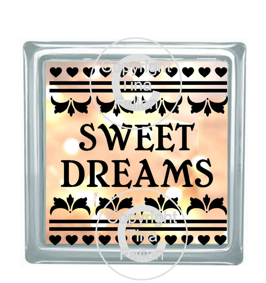 SWEET DREAMS Glass Block Tile Design 6x6 inches