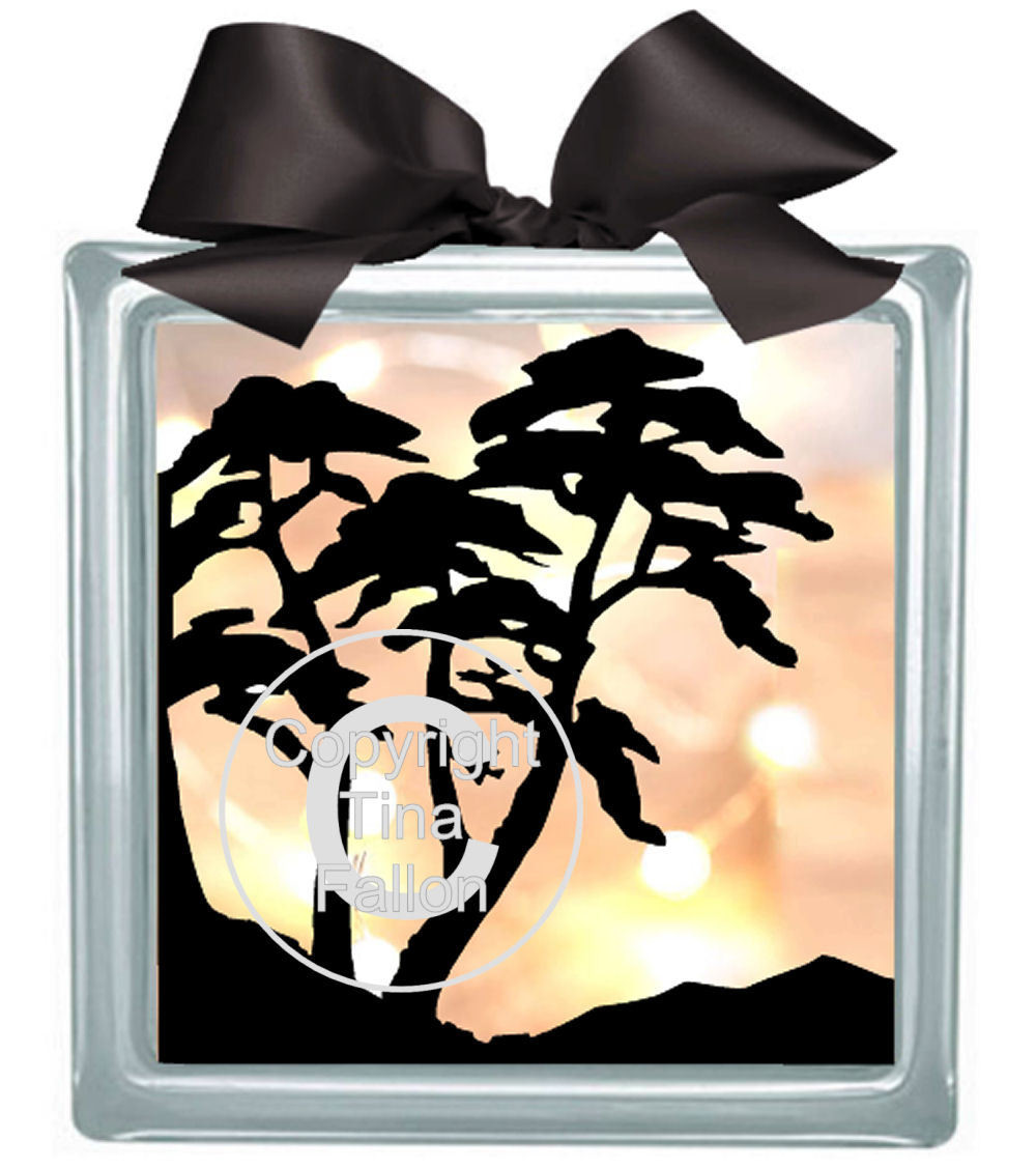 Tree Silhouette  Glass Block Tile Design 6x6 inches