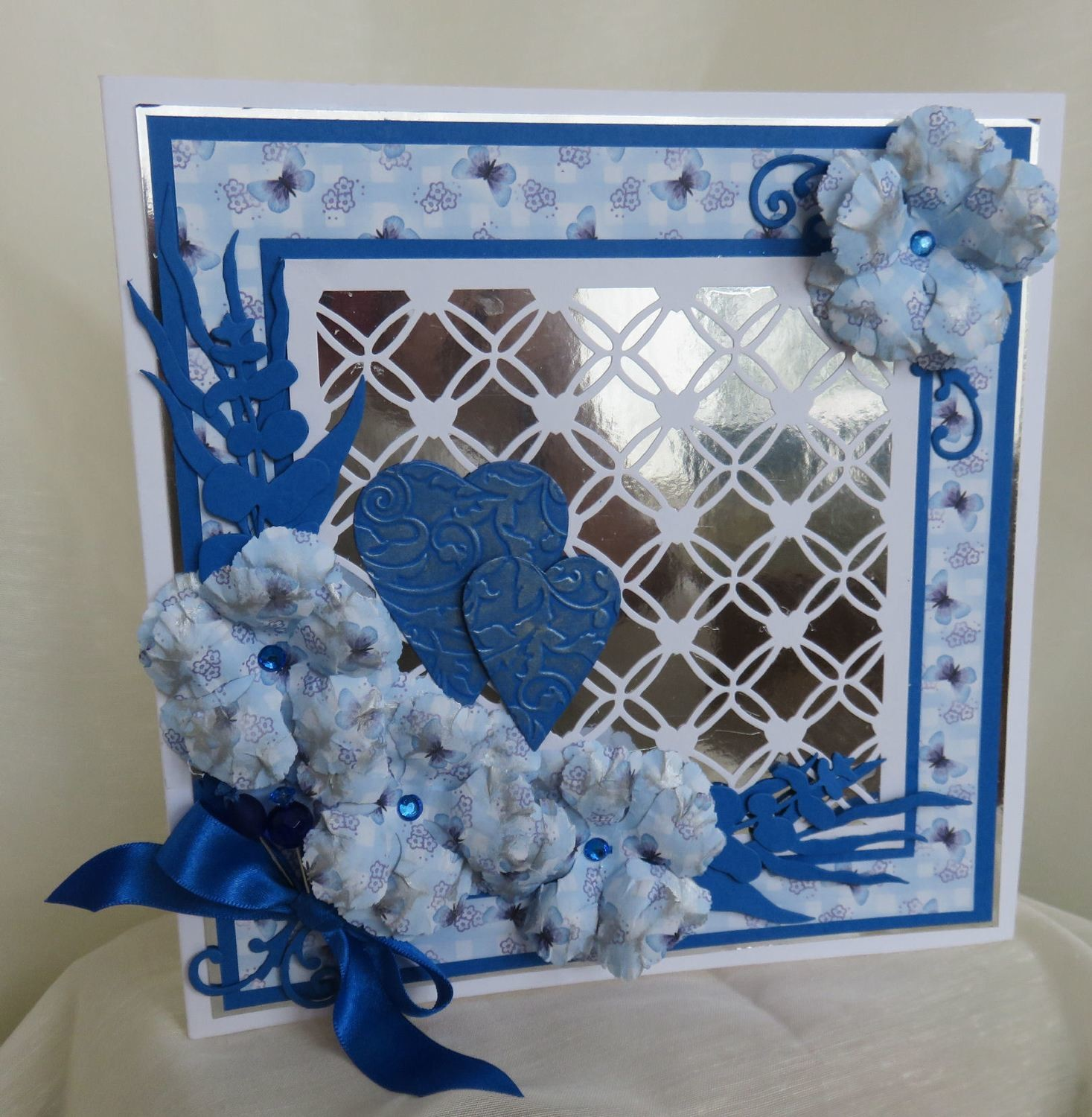 Entwined Hearts trellis frame die cut or emboss / engrave  Square.
