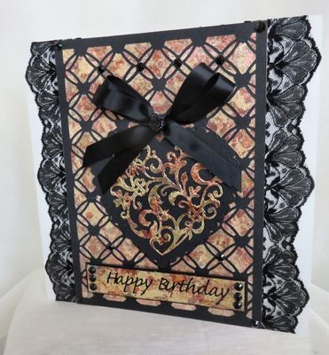 Entwined Hearts trellis frame die cut or emboss / engrave  A5 Portrait size