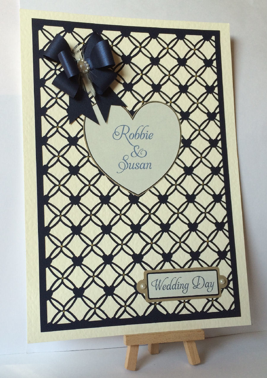 Entwined Hearts trellis frame die cut or emboss / engrave  A4 size