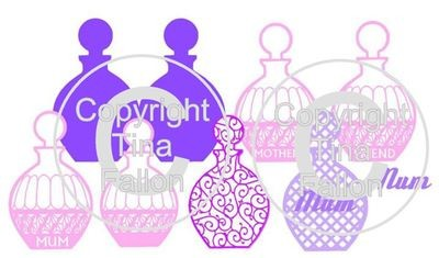 Perfume Bottle Card and 6 toppers
