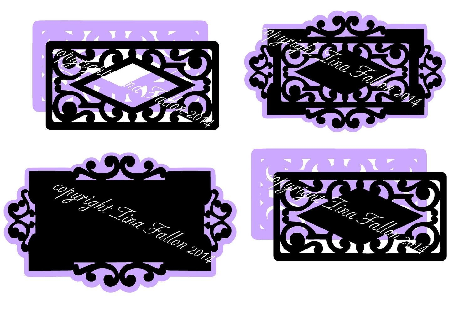 4 Decorative Panels / Frames with undermats