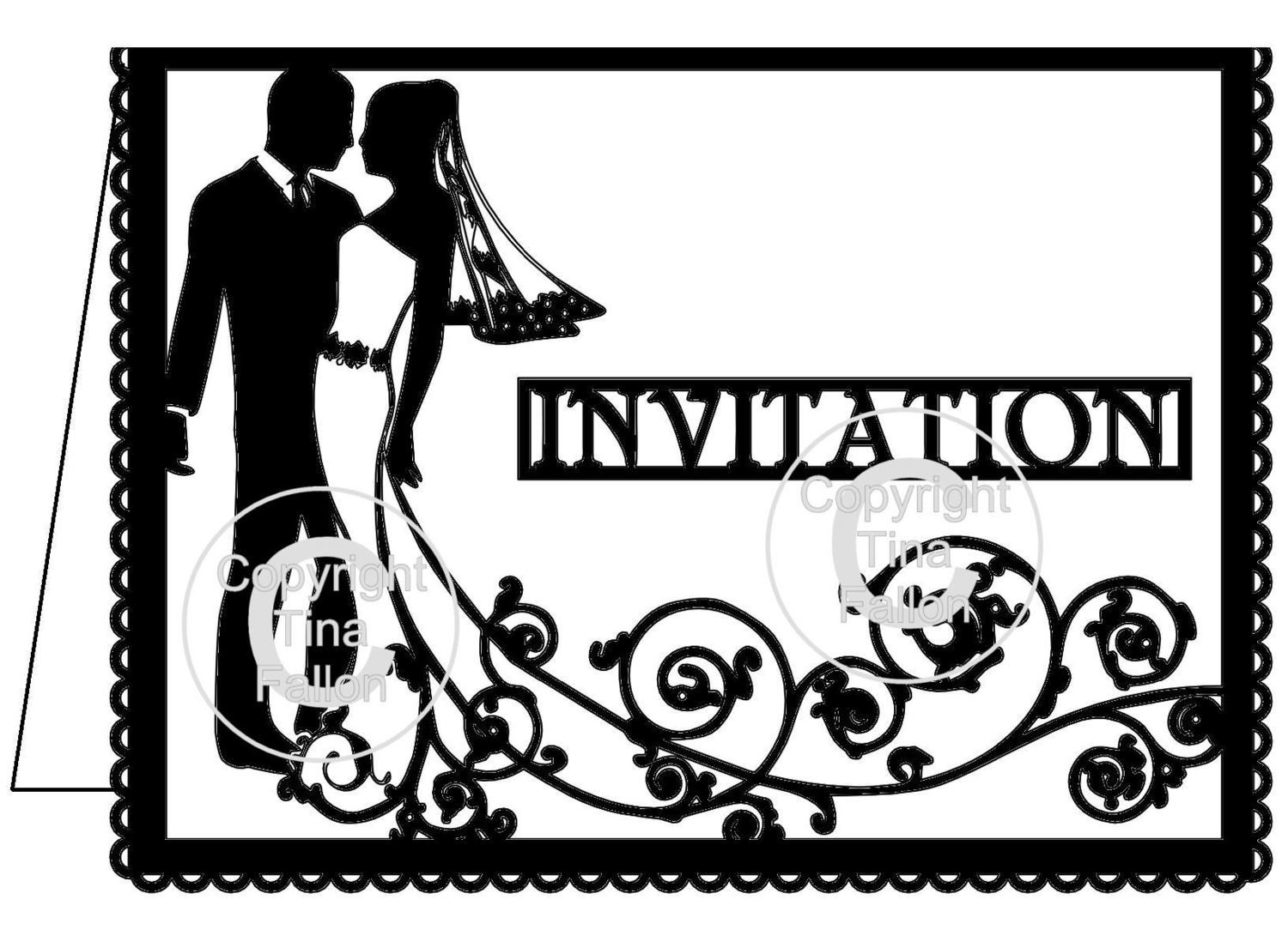 Wedding Invitation Card Groom and Bride Swirl please read info