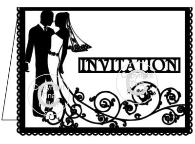 Wedding Invitation Card Groom and Bride Swirl please read info