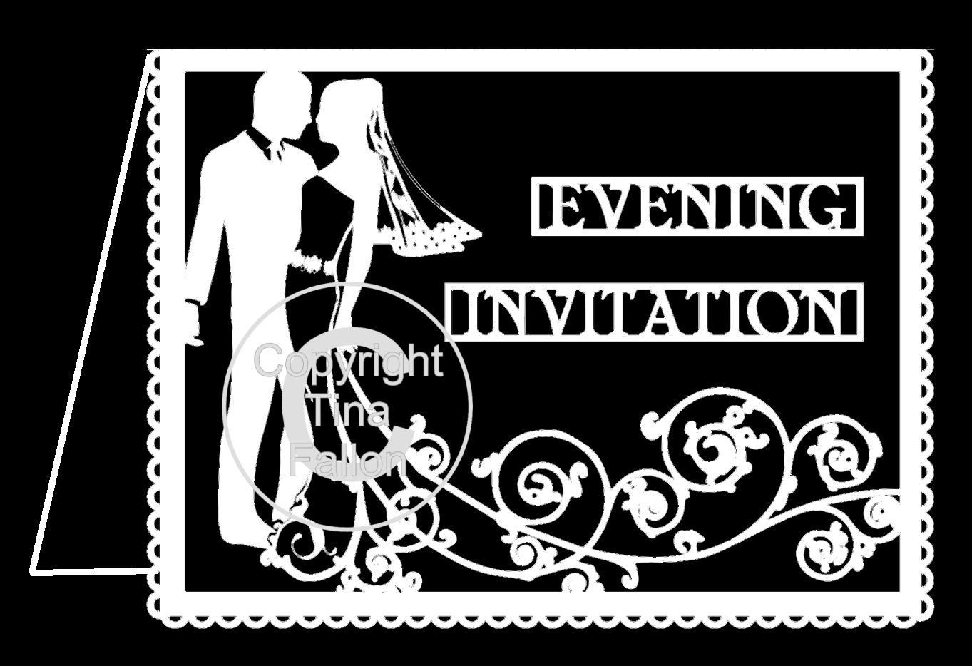 Wedding Evening Invitation Card Groom and Bride Swirl please read info