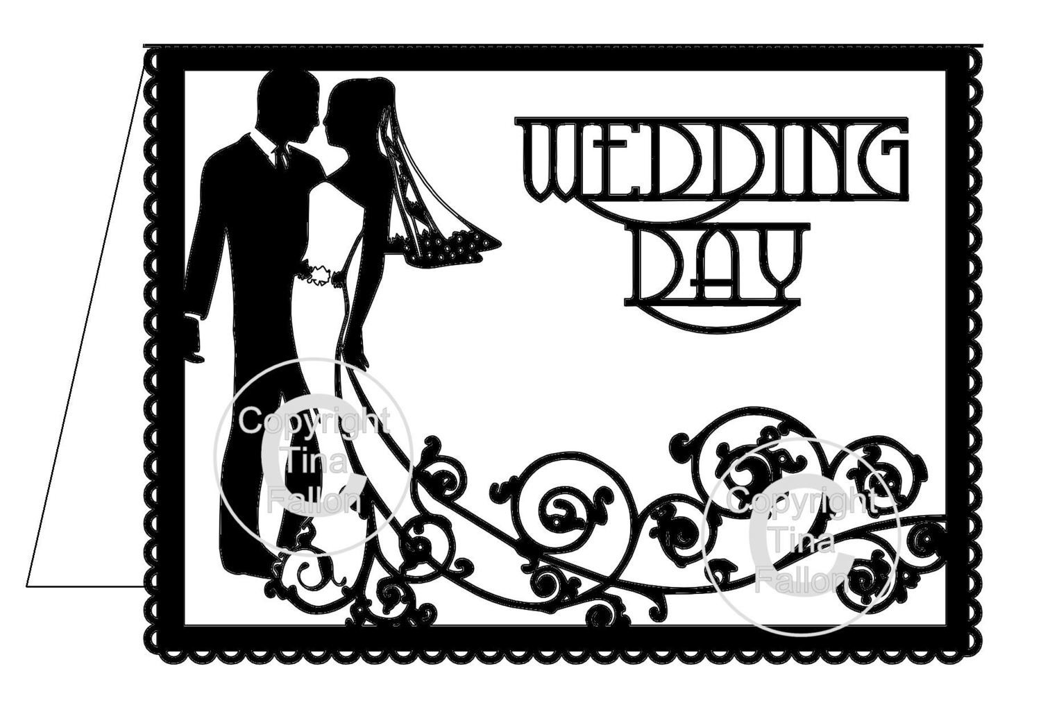 Wedding Day Card Groom and Bride Swirl please read info