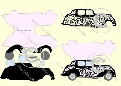 Wedding Car / Limousine No 2 Card Template/ Topper