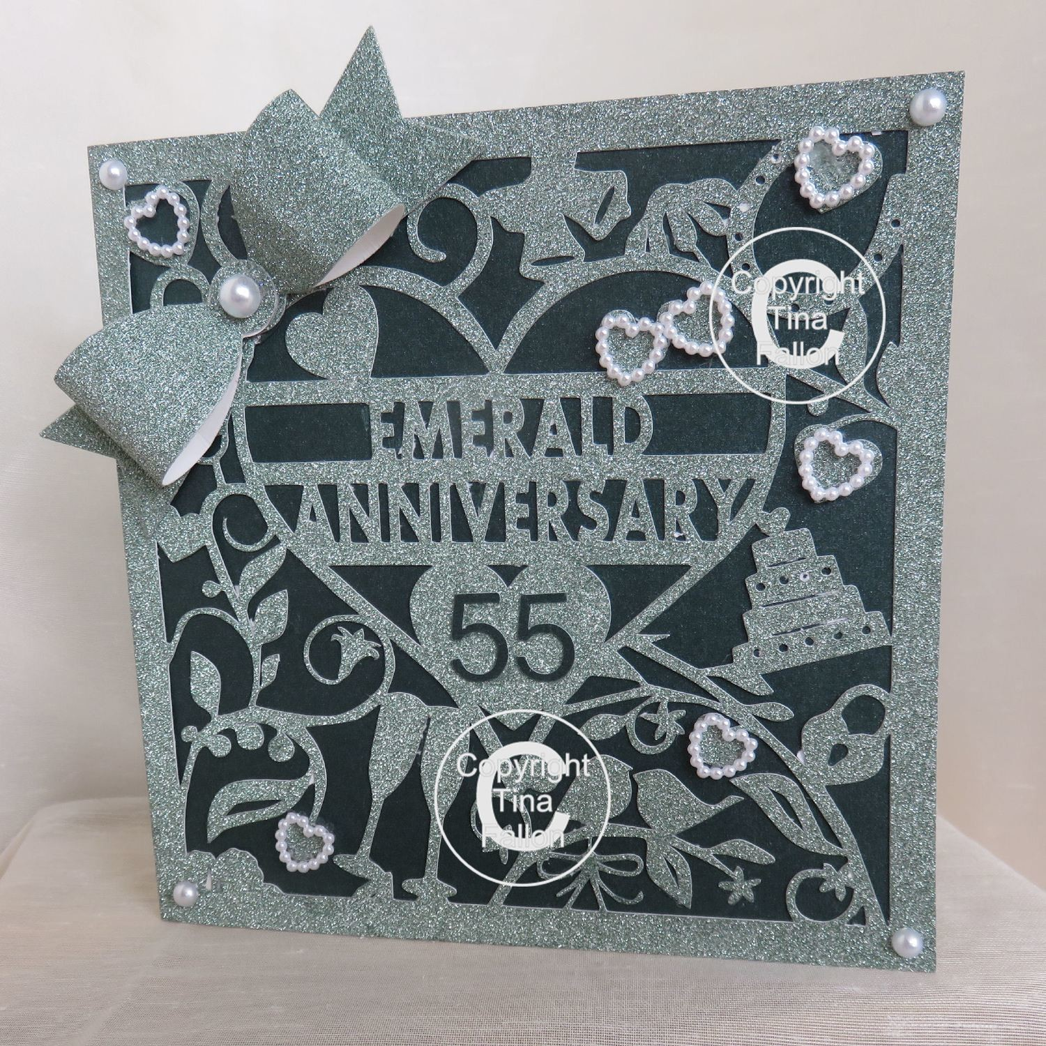 55th Emerald Wedding Anniversary Card (b)