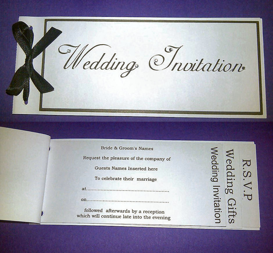 Wedding Invitation Cheque Book Style