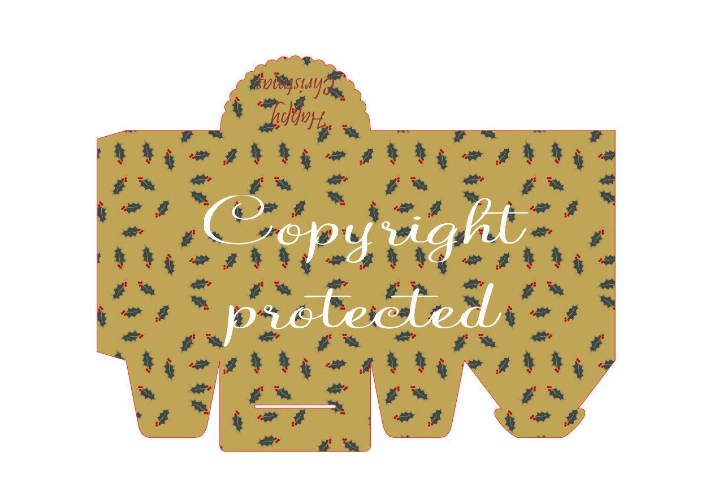 Holly  - Christmas Bag / Box  Print N cut for Cameo
