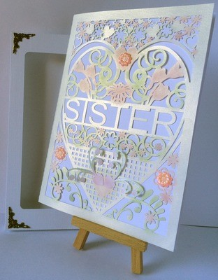 Sister  Birthday Card (with box)  beautiful cutout design