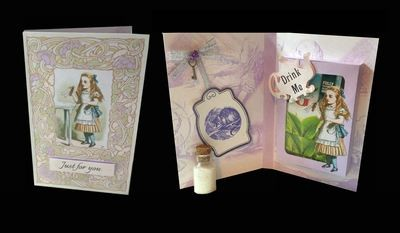 Alice in Wonderland  - 'Drink Me' Combi Card/Box  JPEGS handcut