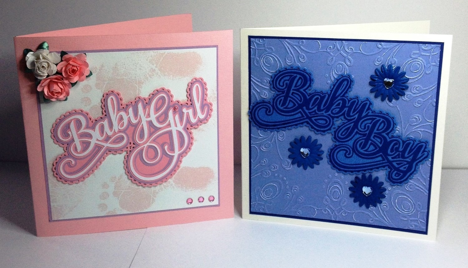 Baby Girl and Baby Boy + heart Decorative Card Toppers 4 lay