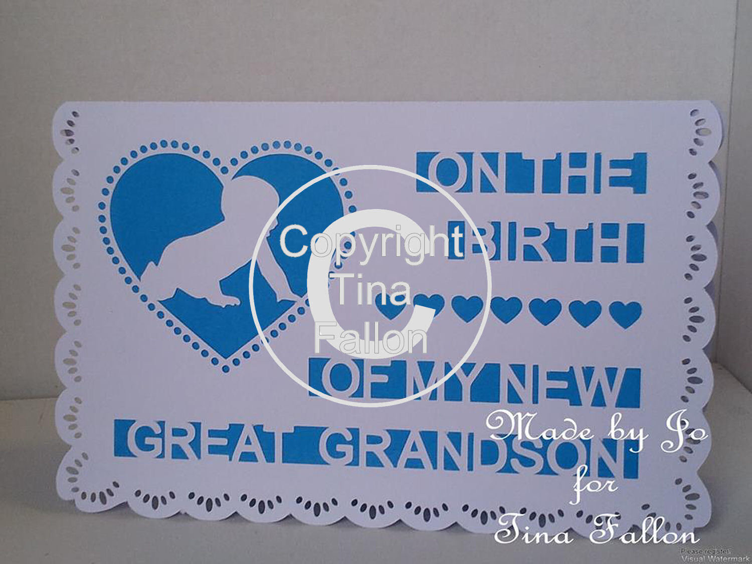 Birth of My Great Grandson baby cut out card template
