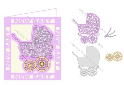 Filigree Baby Pram Card