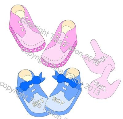 Baby Shoes Mix N Match Set. Paper piecings