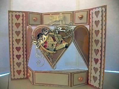 Shutter card tri fold  with heart shaped inner panels