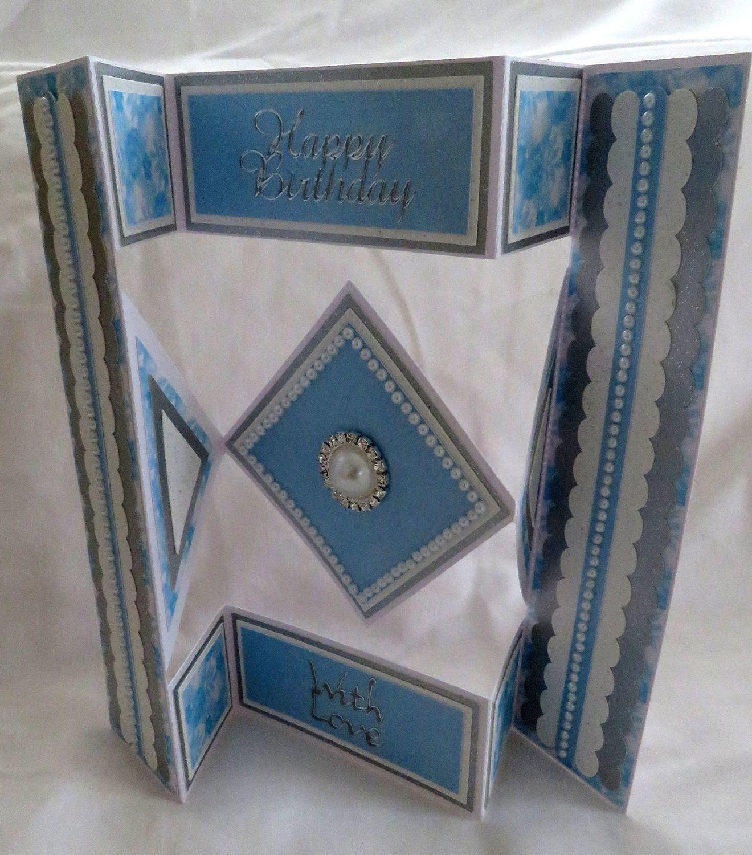 Shutter card tri fold  with diamond shaped inner fold panels