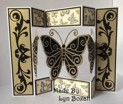 Shutter card tri fold  Butterfly themed