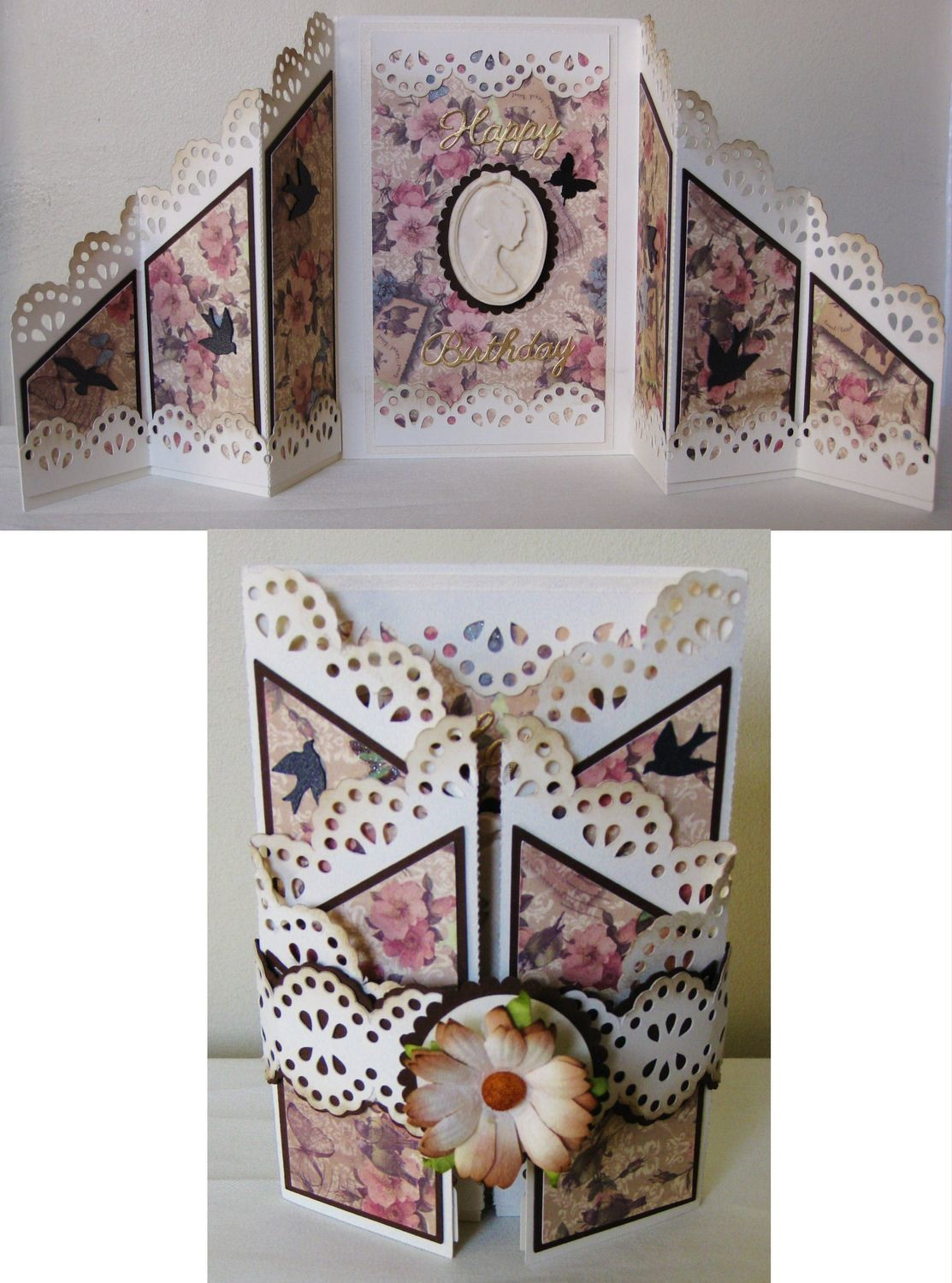 Folding Zig Zag Card with layering panels, tags,lacey borders etc
