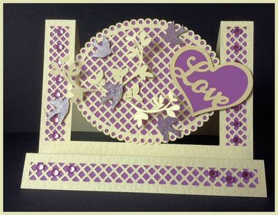 Stepper Card - Oval with trellis cutwork and layering - studio format