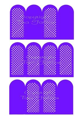 3 folding screen cards with lattice work detail