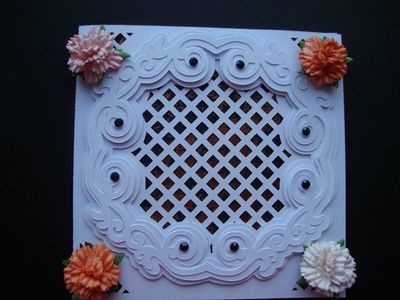 Faux Embossed Card No 1 Lattice Card Template with a 3 layered frame
