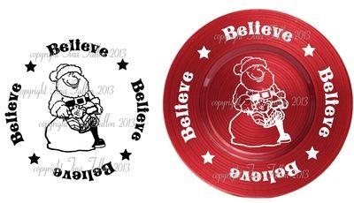 Santa  Vinyl design for Christmas charger plates