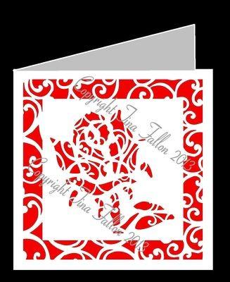 Filigree Rose Card Template