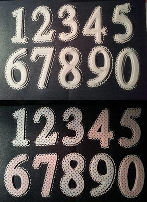 Set of Scalloped and lattice numbers 0 - 9