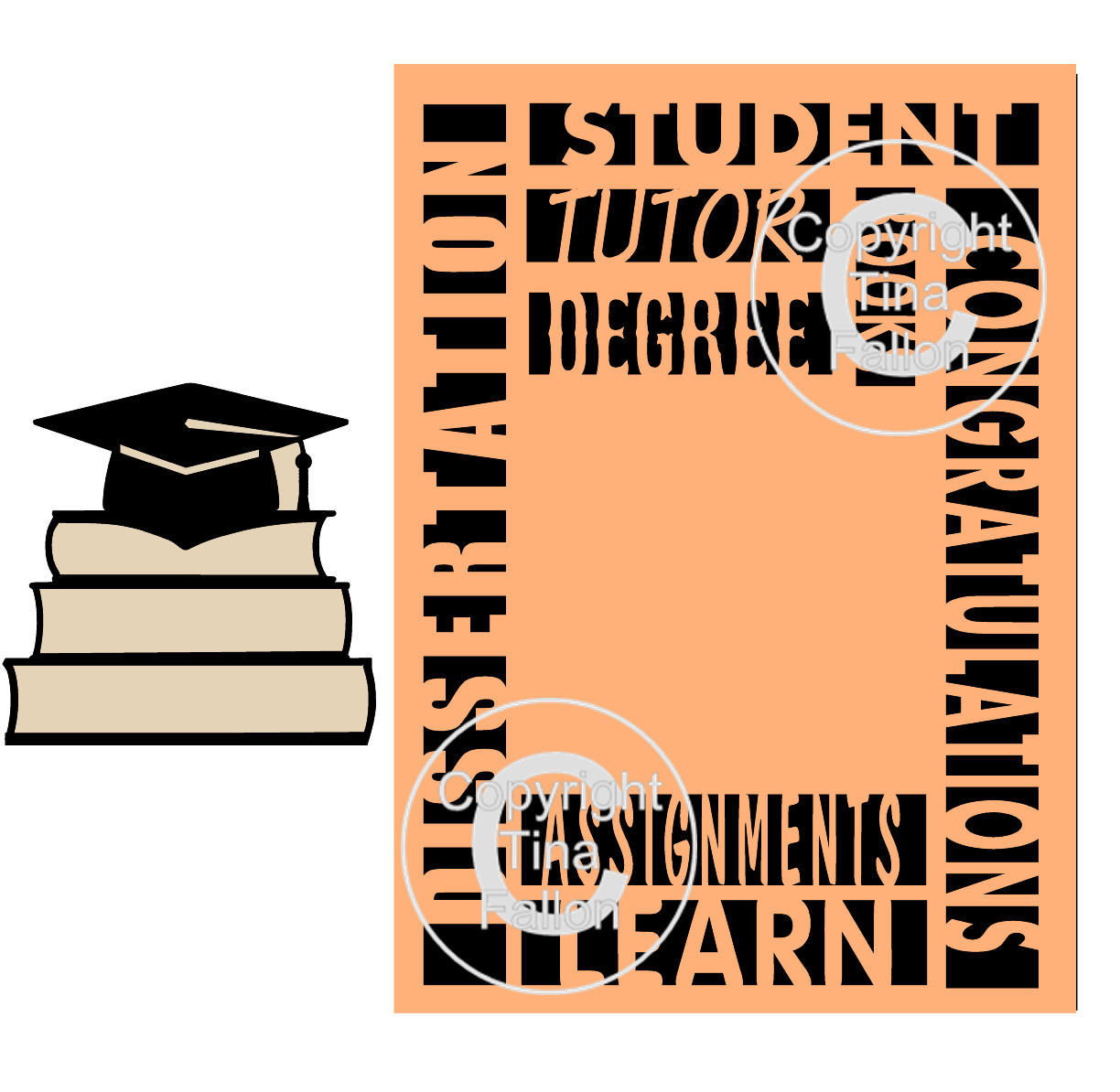 Graduation Card with Mortar and books - Student University etc