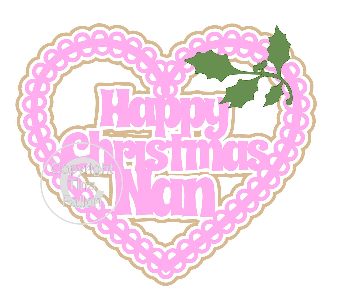 Christmas Heart Nan Card Topper / Hanging Ornament