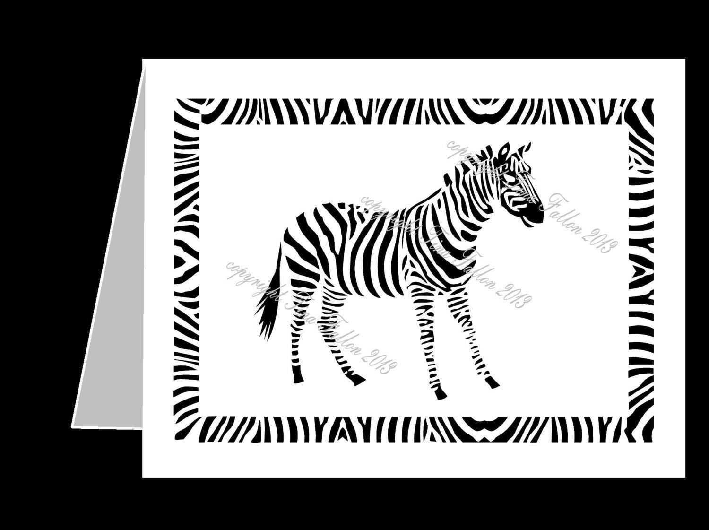 Zebra Filigree Card Template