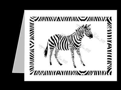 Zebra Filigree Card Template