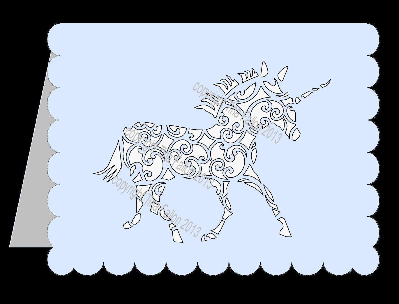 Unicorn Filigree Card Template