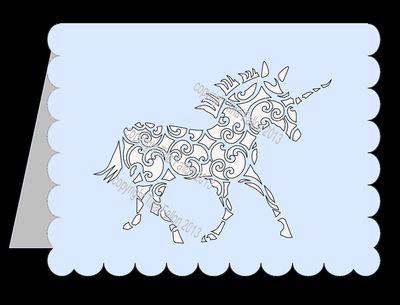 Unicorn Filigree Card Template