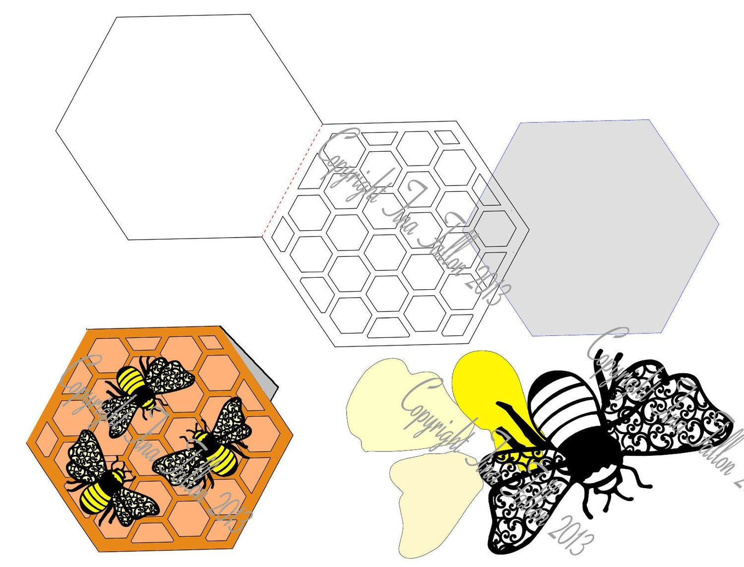 Filigree Honeycomb card template and Bee