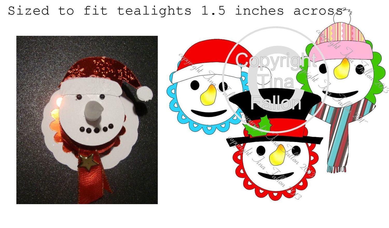 3 Snowman LED Tealight decorations