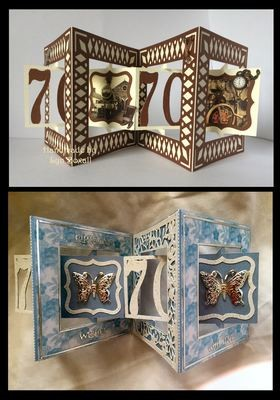 Accordian Card - 70 th  birthday - Anniversary