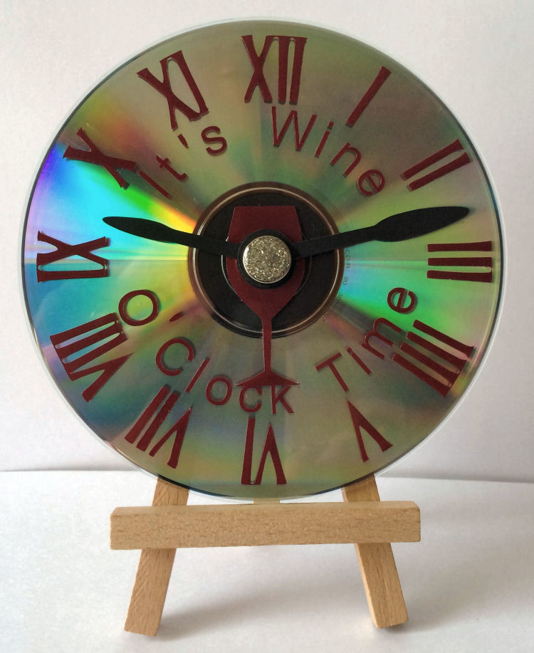 Wine O clock  Cogs Clock Face for CD's / 45's / LP's and 78's