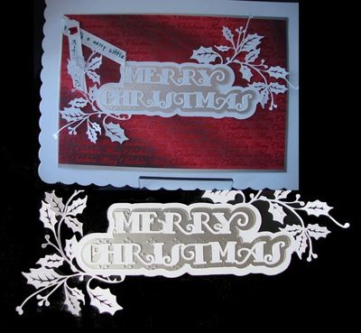 Christmas Cutz 2 Double Holly Merry Christmas  Card Topper