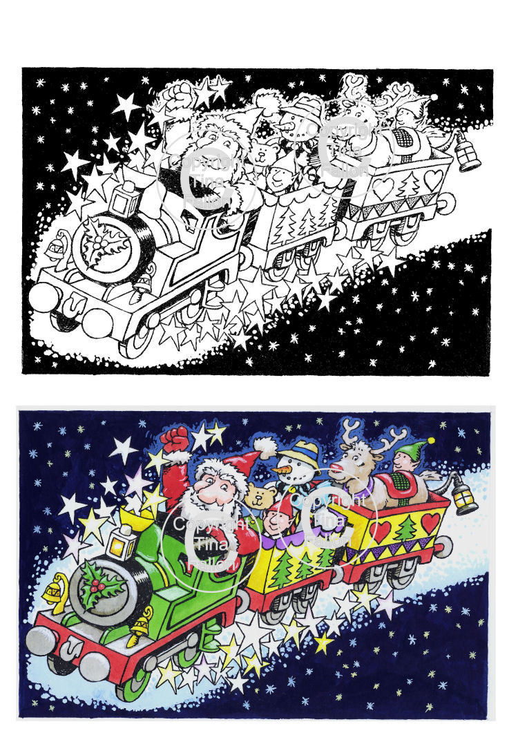 Christmas Express Ride Digi Image  non cutting file