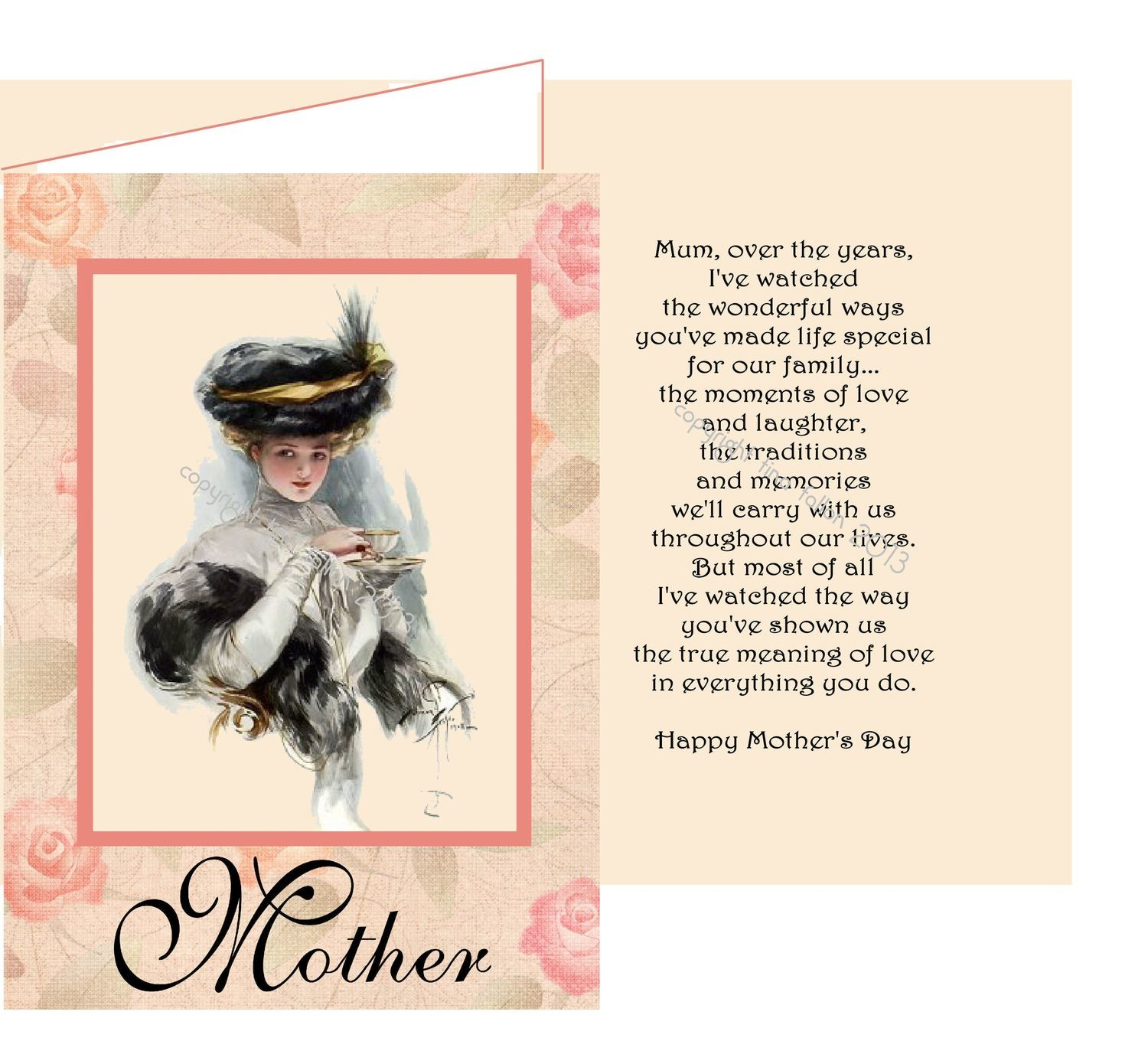 Mothers card no 9 Print n Cut includes card and insert