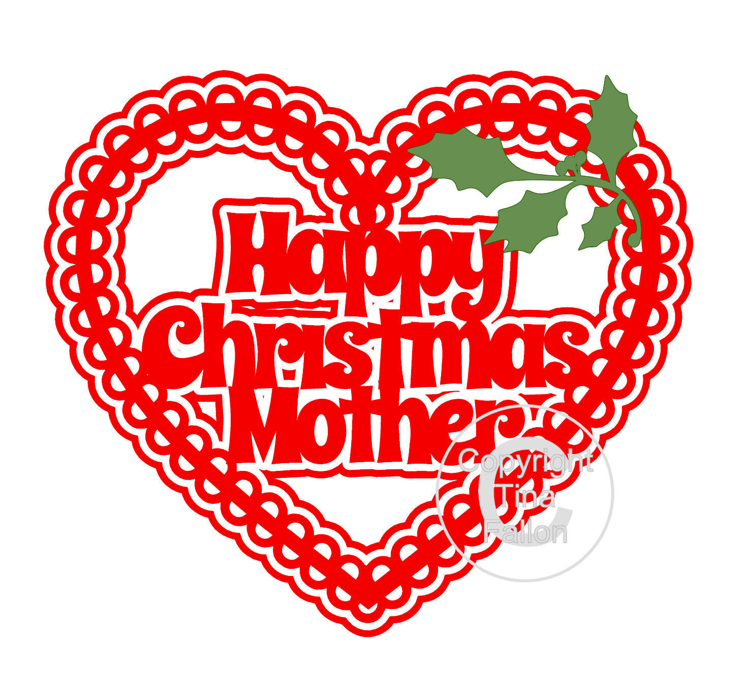 Christmas Heart Mother Card Topper / Hanging Ornament