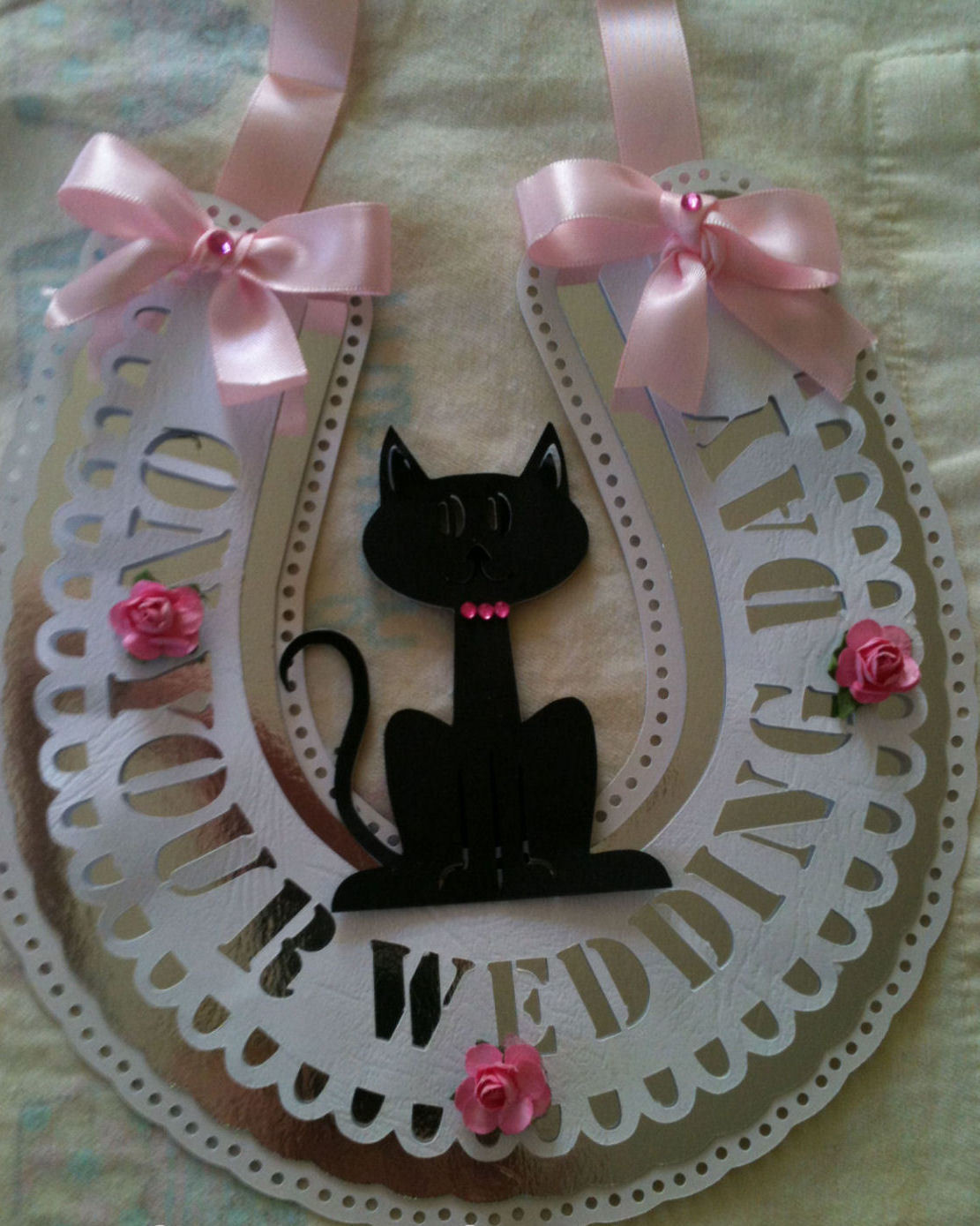 Horseshoe with Lucky Black Cat